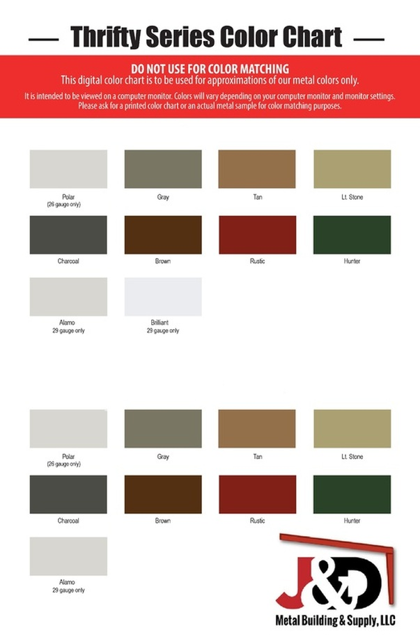 Thrifty Color Chart Jd Metal Building Supply
